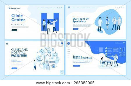 Web Page Design Templates Collection Of Clinic Center, Hospital Facilities, Medical Career, Team Of