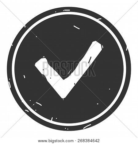 Chek, Ok, Yes Icon Approved Vector Illustration On Gray Background