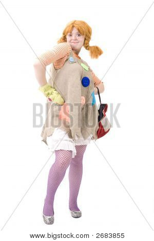 Colorful Dressed Female With Bag Iv