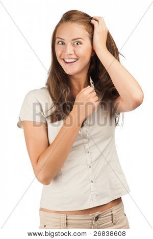 Portrait of excited beautiful woman in casual wear looking surprised. Isolated on white background.