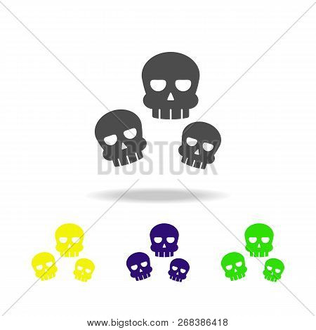 Skulls Multicolored Icon. Element Of Ghost Elements Illustration. Signs And Symbols Icon Can Be Used
