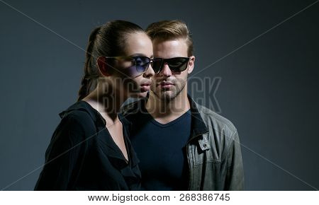 One And Only. Couple In Love. Fashion Models In Trendy Sun Glasses. Couple Of Man And Woman Wear Fas