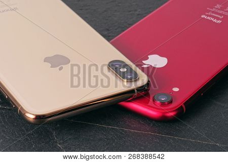 Koszalin, Poland - November 12, 2018: Golden Iphone Xs Max And Red Iphone Xr. The Iphone Xs Max And