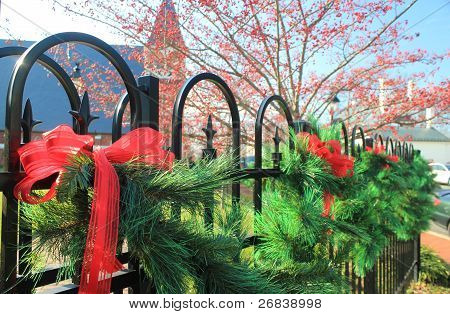 Christmas decoration on a fence