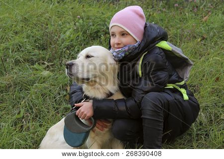 Dog Playing With Owner. Young Girl Playing With Her Pet Golden Retriever. Dog And Owner, Outdoor. Go