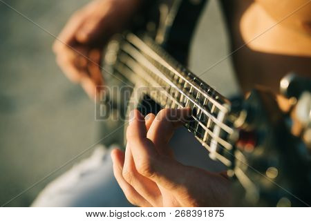 Guitar. Play The Guitar. Live Music Background. Music Festival. Instrument On Stage And Band. Music