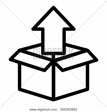 Unpacking Line Icon. Box With Up Arrow Vector Illustration Isolated On White. Unboxing Outline Style