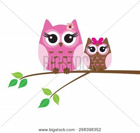 Vector Illustration Of Cute Owl Sitting In The Tree.