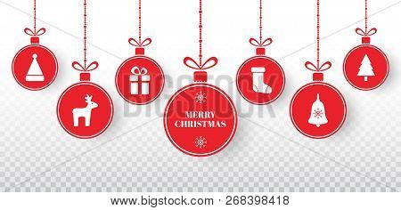 Merry Christmas Balls Set On Transparent Background. Bright Red Hanging Xmas Balls With Santa Hat, R