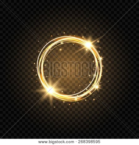 Light Golden Circle Banner. Abstract Light Background. Glowing Gold Circle Frame With Sparkles And S