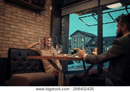 Proposal And Anniversary. Business Meeting Of Man And Woman. Couple In Love At The Restaurant. Date