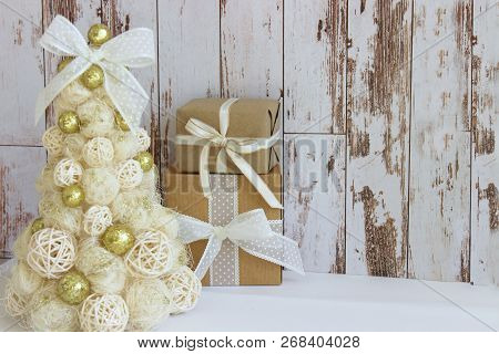 New Year, Christmas Card.new Year, Christmas Background, Rustic Style. Festive Christmas Tree In Gol