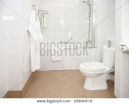 Bathroom in hotel, clean and simple