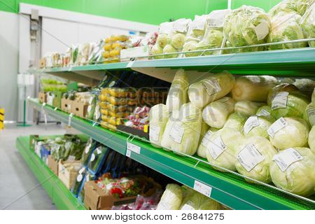 Shelf with groceries, TM's removed, price tags left in place and contain no copyright.