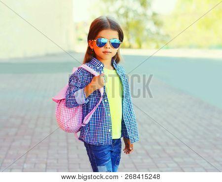 Fashion Portrait Little Girl Child On City Street