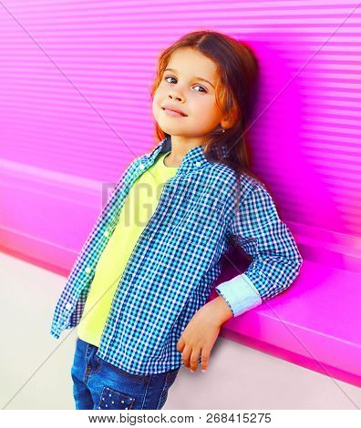 Portrait Beautiful Little Girl Child On Colorful Pink Wall Background