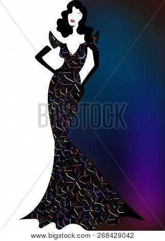 Shop Logo Fashion Woman, Black Silhouette Diva. Company Brand Name Design, Beautiful Luxury Cover Gi