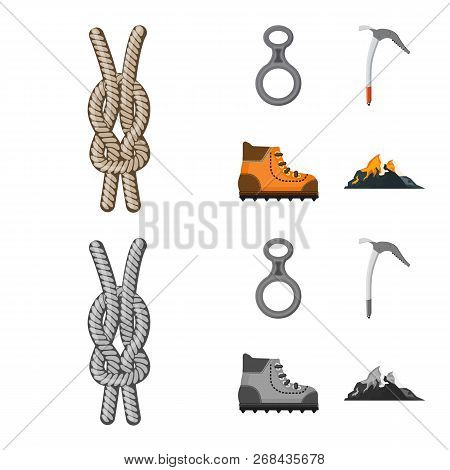 Isolated Object Of Mountaineering And Peak Sign. Collection Of Mountaineering And Camp Vector Icon F