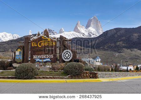 El Chalten, Argentina - Oct 5, 2018: View Of Monte Fitz Roy From The Town El Chalten. It Is The Trek