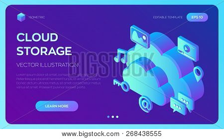 Cloud Computing. Cloud With Apps. Data Storage Device, Media Server. Web Hosting And Cloud Technolog
