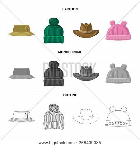 Vector Illustration Of Headgear And Cap Logo. Collection Of Headgear And Accessory Stock Symbol For