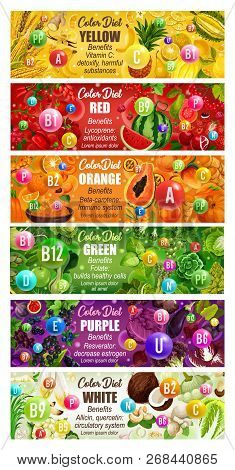 Color Diet Vitamins, Minerals And Benefits In Food. Vector Rainbow Nutrition Circle Diagram Of Fruit