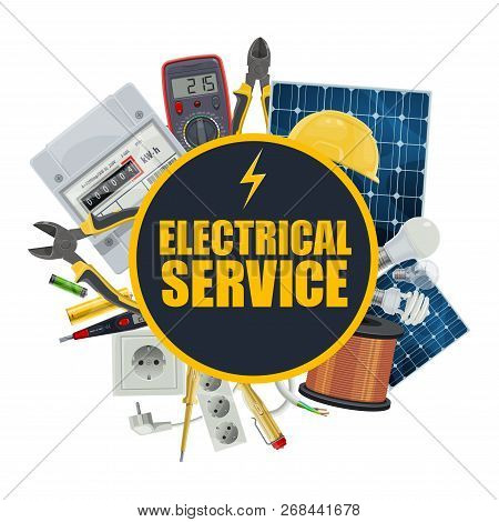Electrical Service, Electrician Repair Tools And Engineer Equipment. Vector Solar Panel Battery, Ele