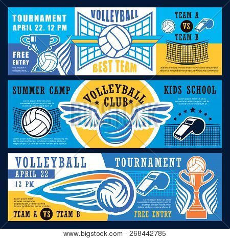 Volleyball Sport Game Tournament Banners Or Kids Sport School And Club Camp. Vector Design Of Volley