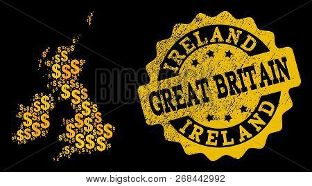 Golden Composition Of Dollar Mosaic Map Of Great Britain And Ireland And Rubber Seal Stamp. Vector S