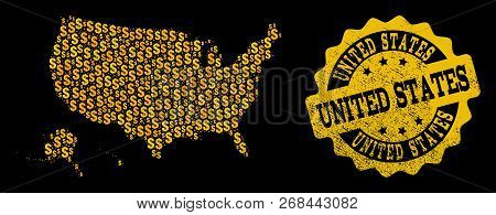 Golden Composition Of Dollar Mosaic Map Of Usa Territories And Rubber Seal Stamp. Vector Watermark W