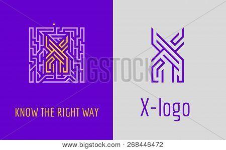 X Letter Logo Maze. Creative Logo For Corporate Identity Of Company: Letter X. The Logo Symbolizes L