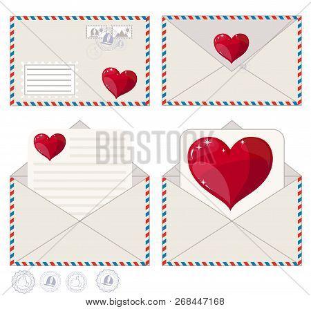 Valentine Letter In Envelope . Stock Flat Vector Illustration.