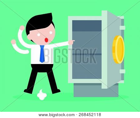 Businessman Paranoid Because Gold And Money Was Stolen From Safe Box, Flat Design