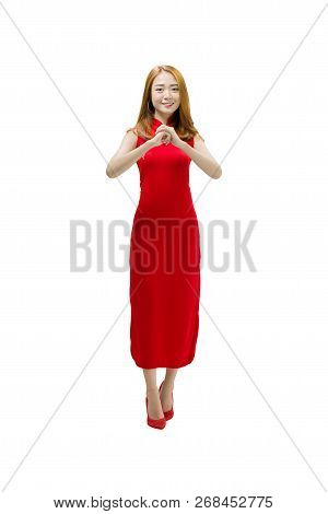 Portrait Of Chinese Woman In Traditional Dress With Congratulation Gesture Posing Isolated Over Whit
