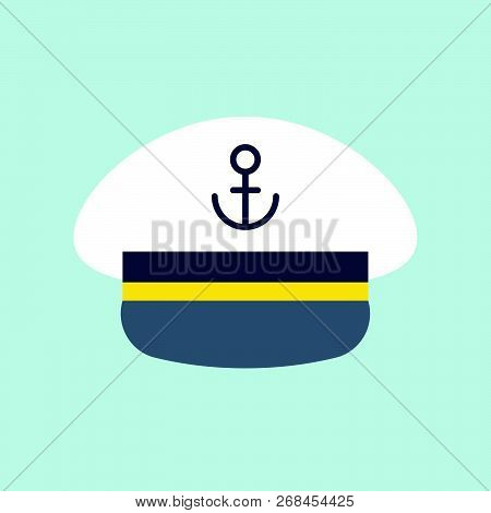 Captain Sailor Hat Icon, Flat Design Vector Illustration