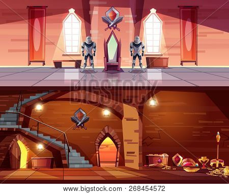 Medieval Castle Ballroom With Knight Guards Near Royal Throne And Ancient Dungeon With Treasures Car