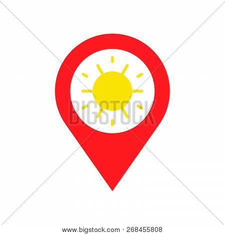 Pin And Sun Symbol, Viewpoint Of Sun Rise And Sunset Flat Icon