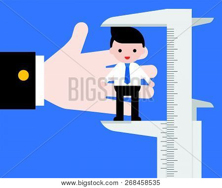 Big Hand Of Hr Using Vernier Measurement Businessman, Evaluate And Kpi Of Personal Employee Value Co