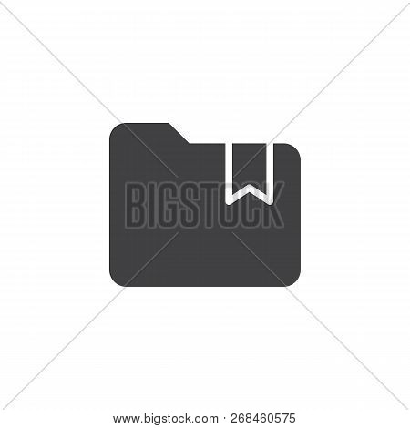 Folder With Bookmark Vector Icon. Filled Flat Sign For Mobile Concept And Web Design. Bookmarked Fol