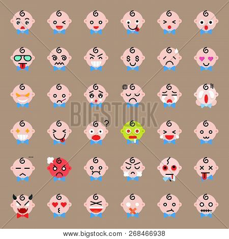 Cute Baby With Bow Vector Emoticon Set, Flat Icon