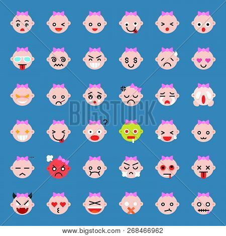 Cute Baby Girl Vector Emoticon Set, Flat Style