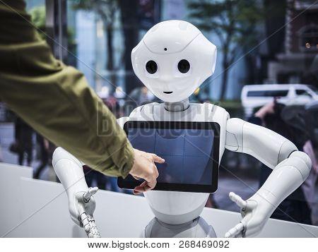Tokyo Japan - Apr 16, 2018 :pepper Robot Assistant Blank Information Screen Japan Humanoid Technolog