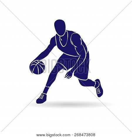 Abstract Blue Outline Basketball Player Silhouette With Ball And Shadow