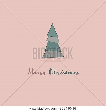 Christmas Time. Christmas Card With Tree Trendy Colors. Text : Merry Christmas.