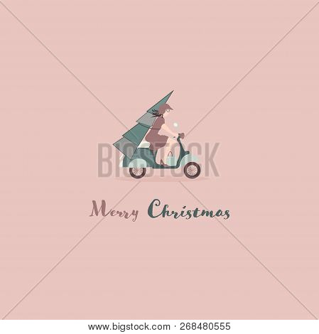 Christmas Time. Young Woman On Scooter Transporting A Christmas Tree. Text : Merry Christmas