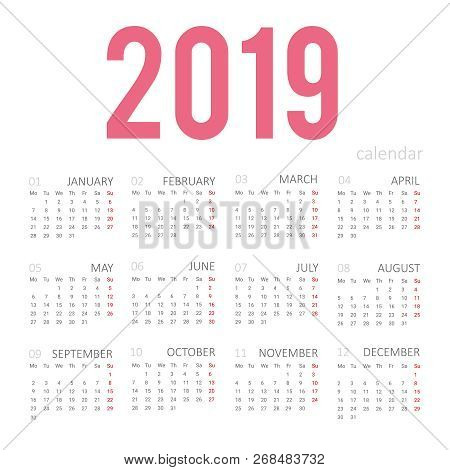 Simple Concept Of Calendar For 2019 New Year. Months Are Taken In A Square Frame. For Desktop Wall P