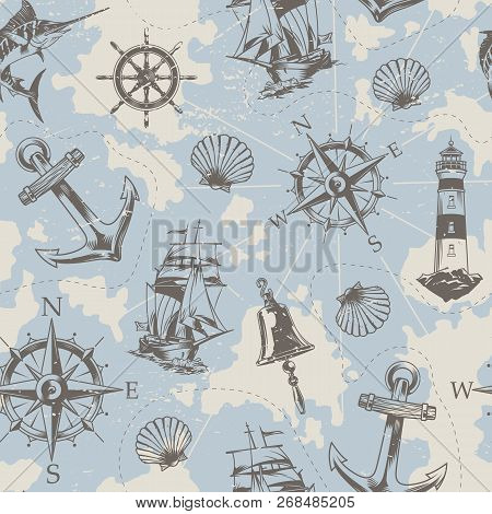 Vintage Nautical Elements Seamless Pattern With Swordfish Ship Bell Wheel Anchor Lighthouse Seashell