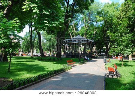 Summer day in public city park