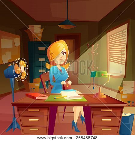 Woman Customer, Client In Working Space, Study Room Interior. Businesswoman In Agency With Order. De