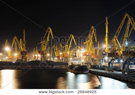 industrial port and ship at night